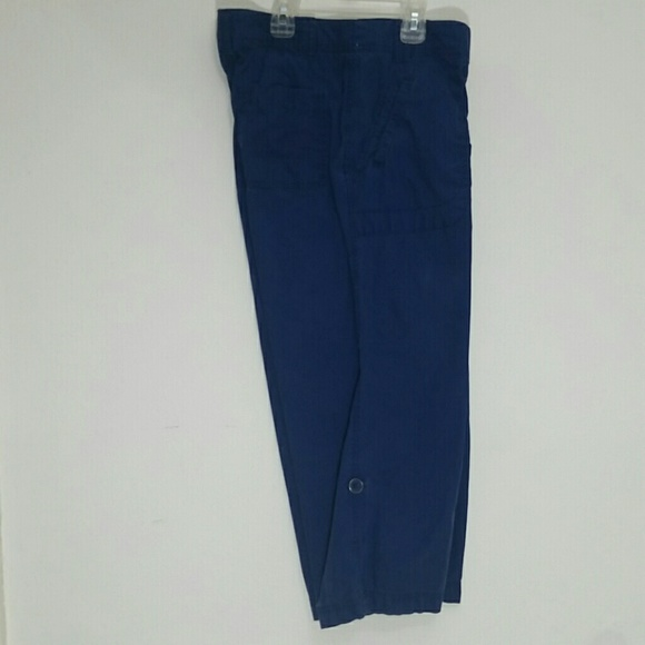cargo pants cropped 8 blue pockets